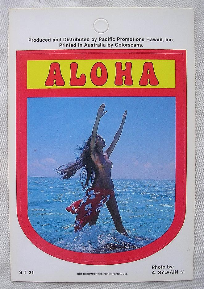 Vintage Hawaiian Wahine Nude Sticker By Pacific Promotions