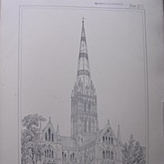 Stunning Large 1858 Lithograph of THE CATHEDRAL - Salisbury - Wiltshire