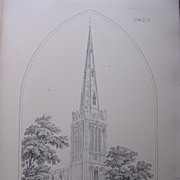 Stunning Large 1858 Lithograph of SAINT PETER'S - Ondle - Northamptonshire
