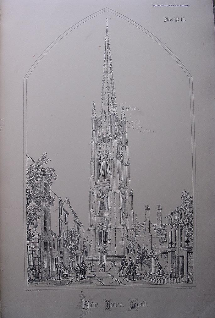 Stunning Large 1858 Lithograph of SAINT JAMES' - Louth - Lincolnshire