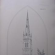 Stunning Large 1858 Lithograph of SAINT MARY'S - Whittlesea - Cambridgeshire