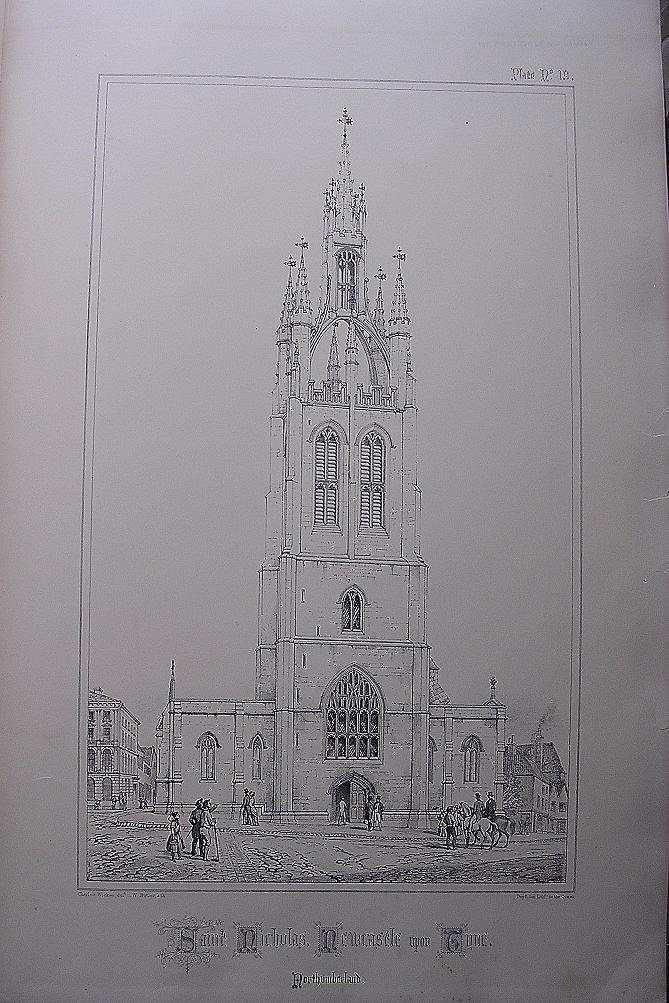 Stunning Large 1858 Lithograph of SAINT NICHOLAS' -  Newcastle-Upon-Tyne - Northumberland