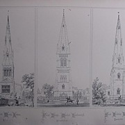 Stunning Large 1858 Lithograph of St. MARY'S - Ketton,  St. DENY'S - Market-Harborough, St. NICOLAS - Walcot