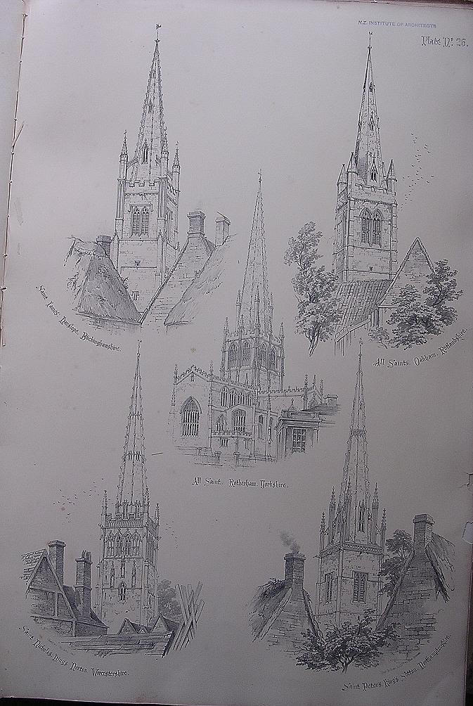 Stunning Large 1858 Lithograph of St. JAMES - Hanslope: ALL SAINTS' - Oakham: ALL SAINTS' - Rotherham : St. NICHOLAS'  - Kings Norton : St. PETER'S - Kings Sutton.
