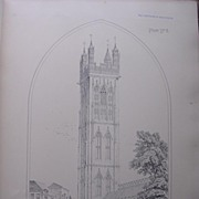 Stunning Large 1858 Lithograph of SAINT STEPHEN'S - Bristol - Gloucestershire
