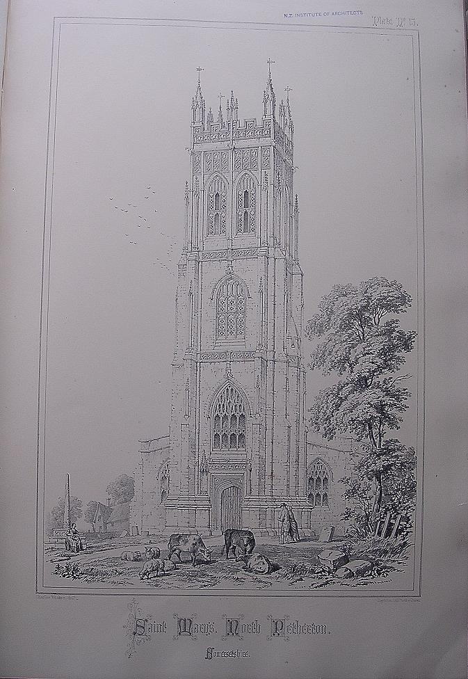 Stunning Large 1858 Lithograph of SAINT MARY'S  - North Petherton - Somersetshire