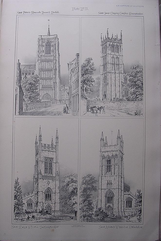 Stunning Large 1858 Lithograph of St. PETER'S MANCROFT - Norwich: St. JAMES - Chipping-Campden: St. MARY'S - Whiston: St. Andrew's - Whissendine
