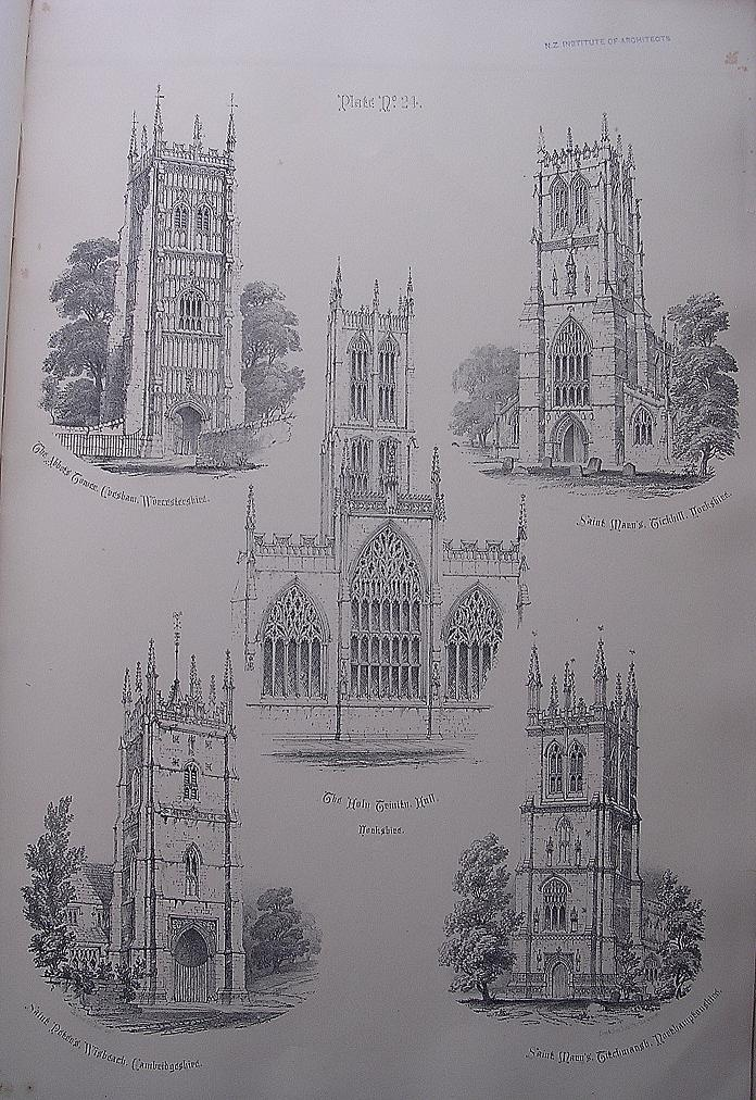 Stunning Large 1858 Lithograph of THE ABBOTS TOWER - Evesham: St. MARY'S - Tickhill: THE HOLY TRINITY - Hull: St. PETER'S - Wisbeach: St. MARY'S - Titchmarsh