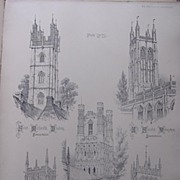 Stunning Large 1858 Lithograph of St. MICHAEL'S - Dundry: ALL SAINTS - Wrington: THE CATHEDRAL - Ely: St. MARY & St. PETER - Wolverhampton: St. MARY'S - Melton-Mowbray
