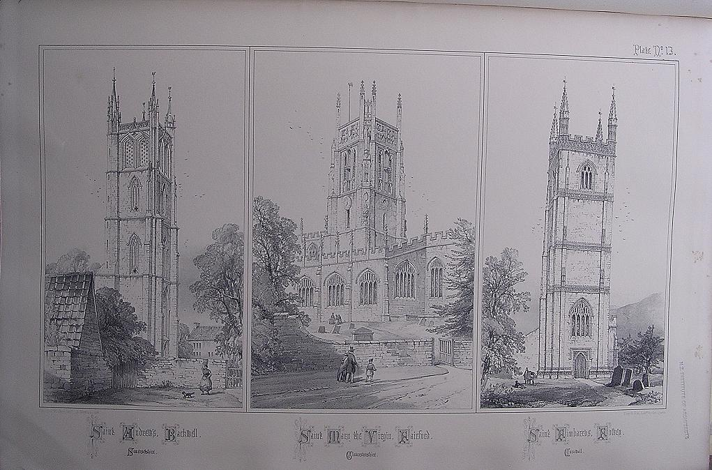 Stunning Large 1858 Lithograph of St.ANDREW;S - Backwell: At. MARY THE VIRGIN - Fairford: St. FIMBARRAS - Fowey