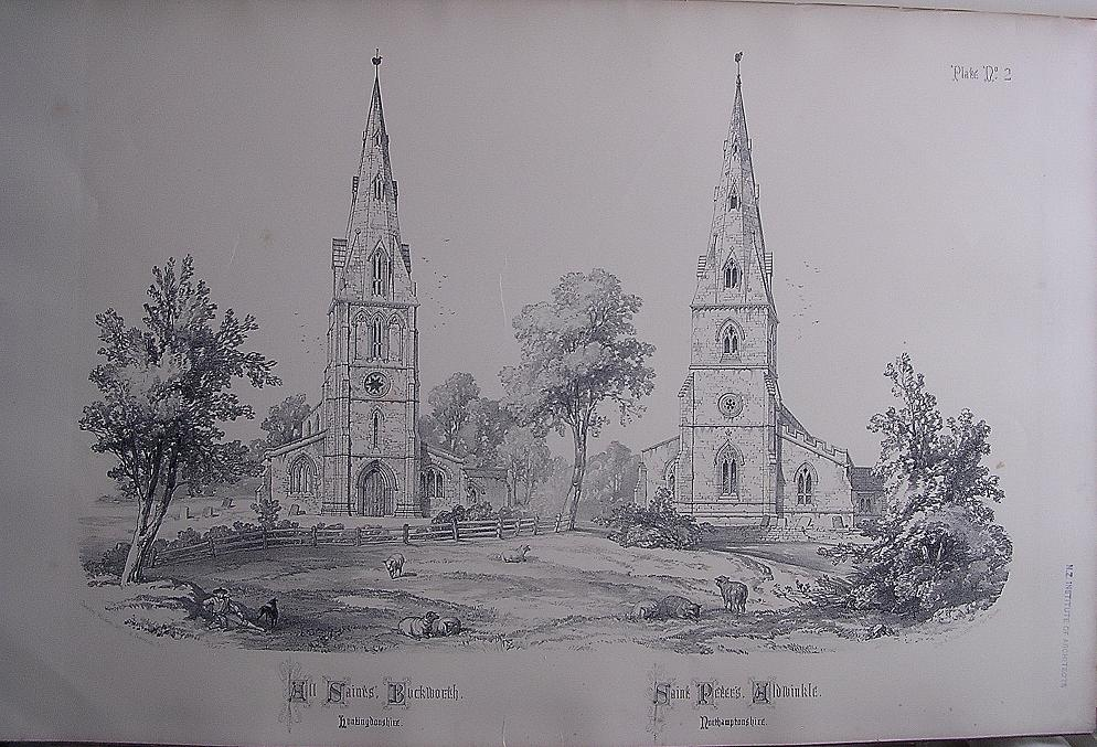 Stunning Large 1858 Lithograph of ALLSAINTS - Buckworth: St. PETER'S - Aldwinkle