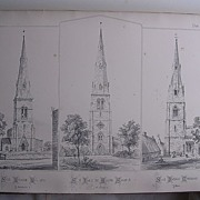 Large Lithograph :   St.Leonards Loddington  -St.James Spaldwick  -  St. Nicholas Cottesmore
