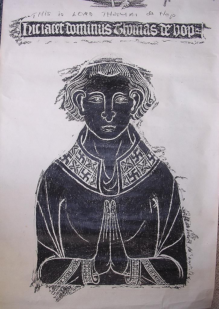 Old Brass Rubbing Of Lord Thomas de Hop