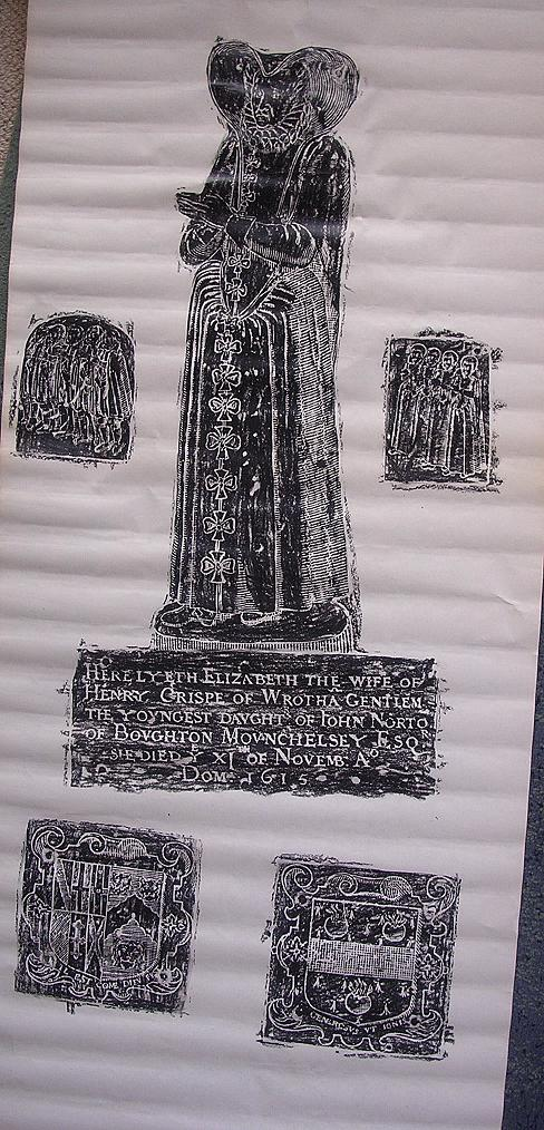 Lovely Old Brass Rubbing Of ELIZABETH -Wife of HENRY CRISPE Of Wroth -A Gentleman