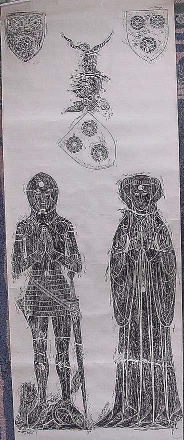 Old Brass Rubbing Of A Norman Knight & His Wife