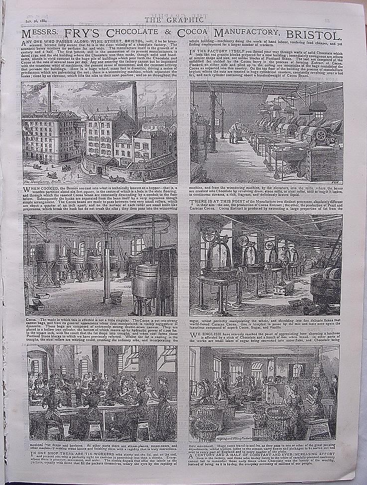 FRY'S Chocolate Factory Full Page Advertisement THE GRAPHIC 1884