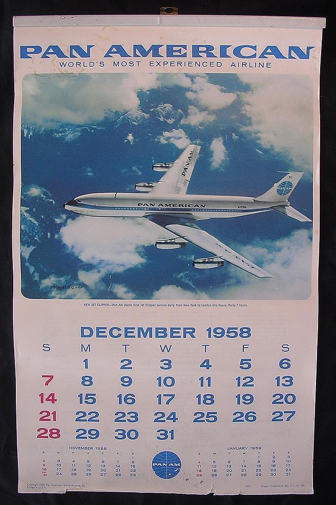 Original Rare 1959 Pan American Airlines Calendar From