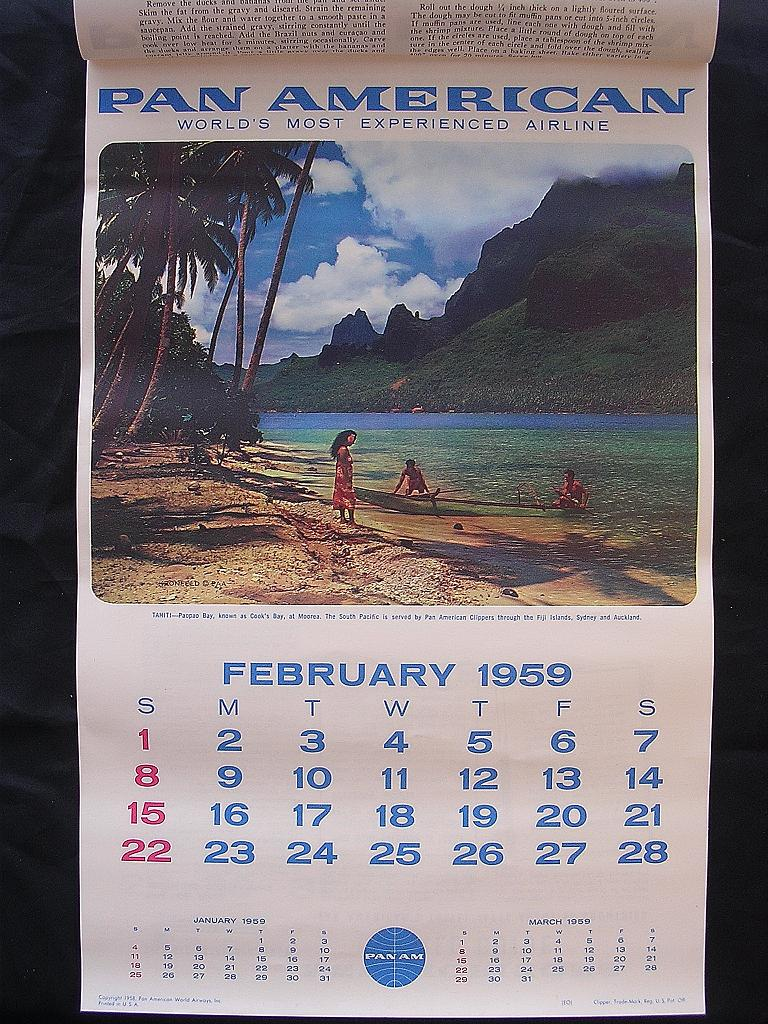 original rare 1959 pan american airlines calendar from molotov on ruby lane