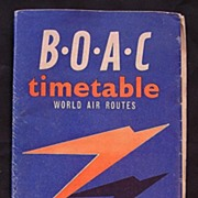 Vintage 1957 B.O.A.C. World Air Routes Timetable
