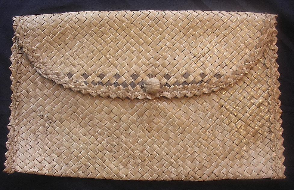 Vintage Polynesian Woven Flax Kete or Purse