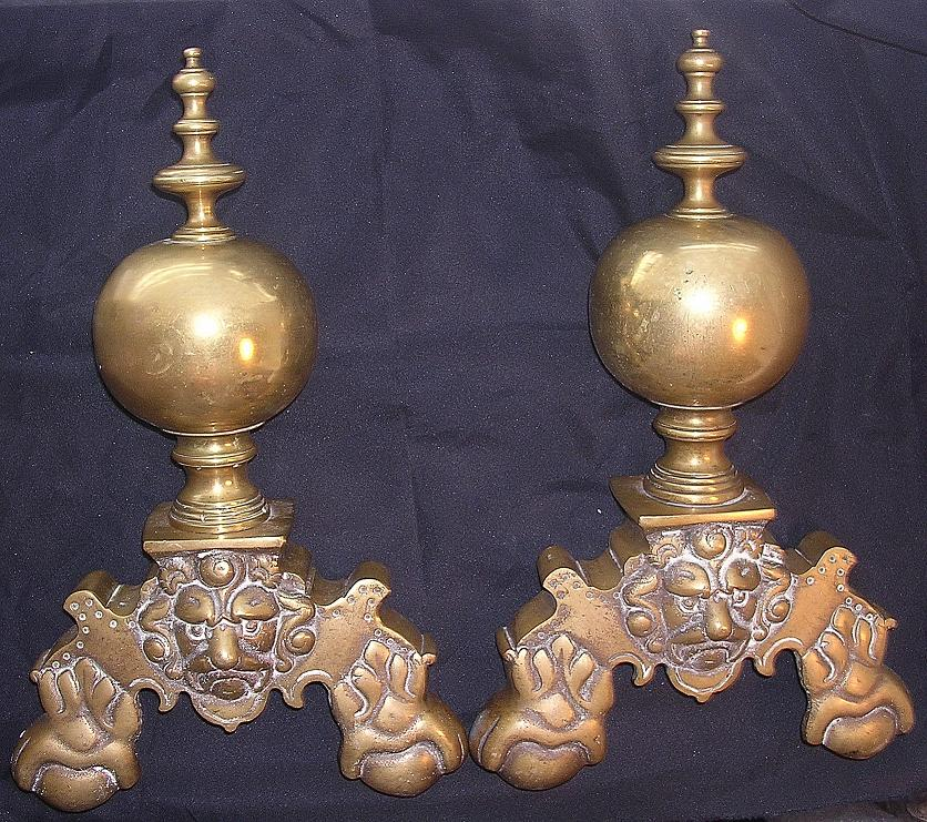 Massive Ornate Victorian Brass Andirons