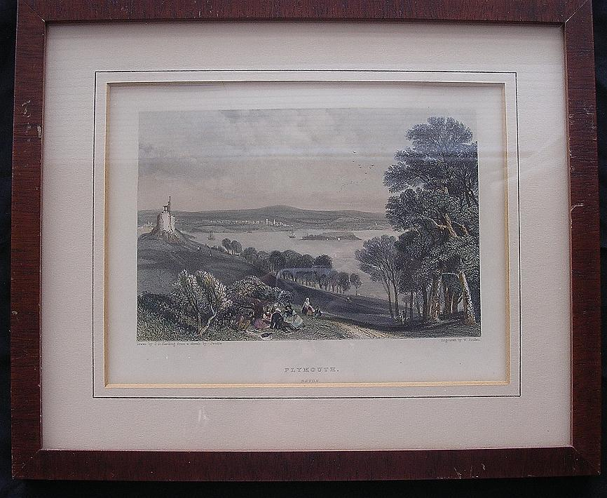 Genuine Hand Coloured Victorian Engraving Of PLYMOUTH Circa 1870