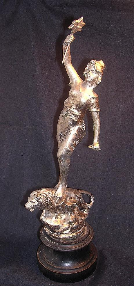 Beautiful Victorian Spelter Statuette of Lady & Lion - Rule Britannia