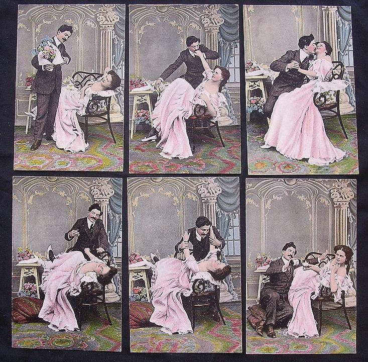 Rare Set Of Six Victorian Era 'Risque' Postcards.