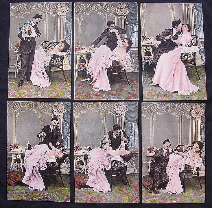 Rare Set Of Six Victorian Era 'Risque' Postcards.