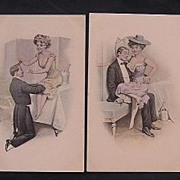 A Set Of Four Risque Austrian Postcards Circa 1900