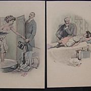 A Set Of Two Saucy Victorian Era Postcards