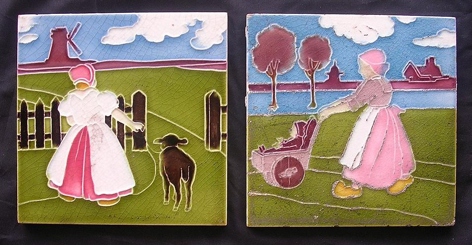 Two Delightful Rare Old English TILES With Dutch Children's Scenes