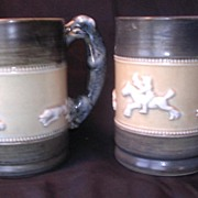 A Pair of English Pottery 'HUNT ' Mugs or Tankards