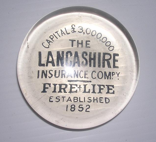 Victorian Era Glass Paperweight For LANCASHIRE Insurance