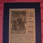 1914 Lima Bull Fight Advertising Poster