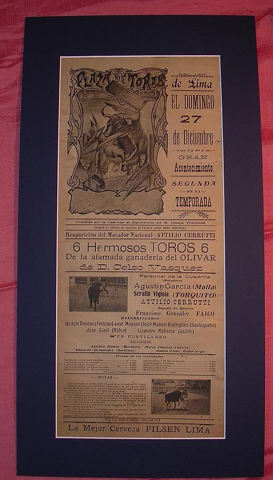1914 Lima Bull Fight Advertising Poster Antique Goodies