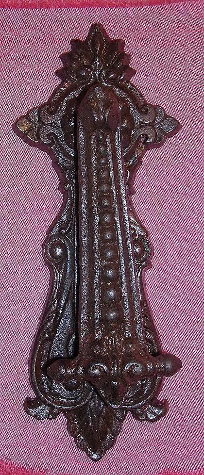 Large Victorian GOTHIC Cast Steel Door Knocker