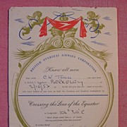BOAC Equator Certificate Dated 2/10/1956