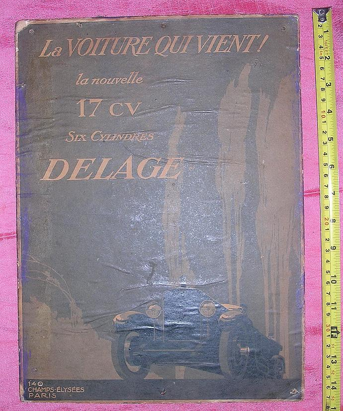 1920's Original Advertising Poster DELAGE  17 CV - Six-Cylinders