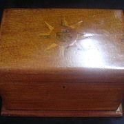 Victorian Wooden Tea Caddy With Marquetry Decoration