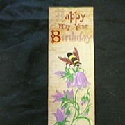 STEVENS Silk Bookmark 'Happy May Your Birthday Bee'