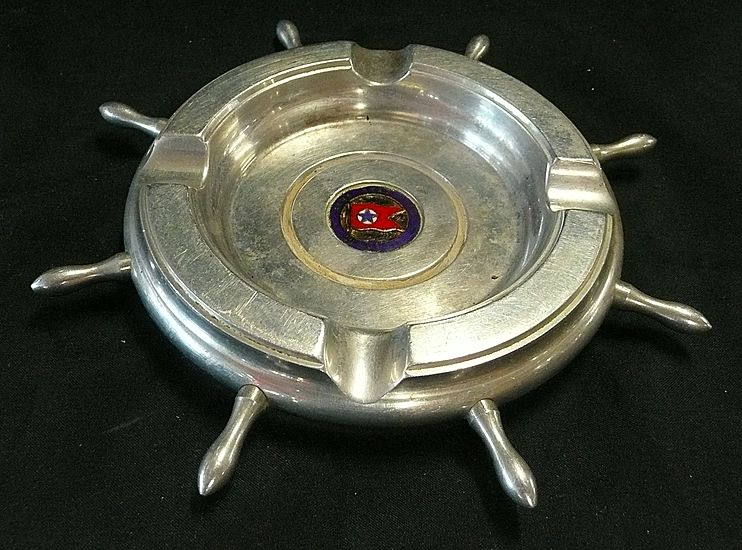 BLUE STAR LINE Souvenir 'Ships Helm' Ashtray