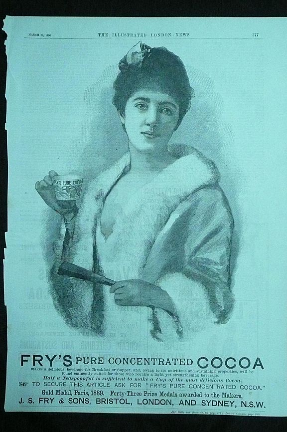 FRY'S COCOA - Original Full Page Advert Illustrated London News March 1890