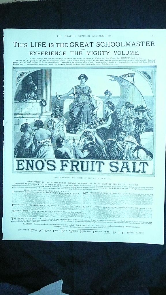 ENOS FRUIT SALT - Original Full Page Advert The Graphic 1885