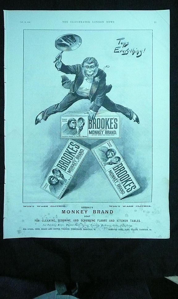 BROOKE'S Monkey Brand SOAP - Original Full Page Advert Illustrated London News January 1896
