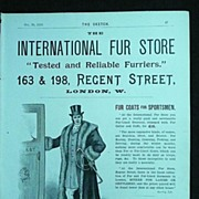 INTERNATIONAL Fur Store- Full Page Advert From The Sketch 1895
