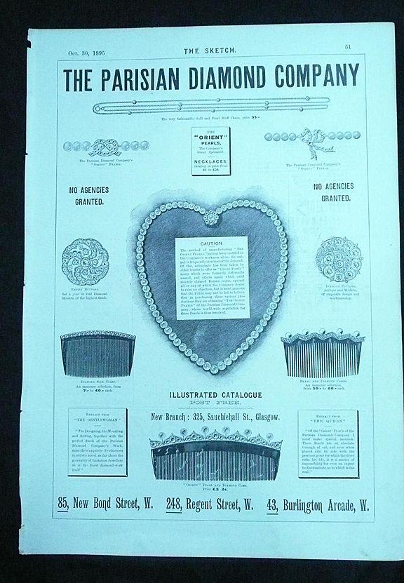 THE PARISIAN Diamond Company - Full Page Advert From The Sketch 1895