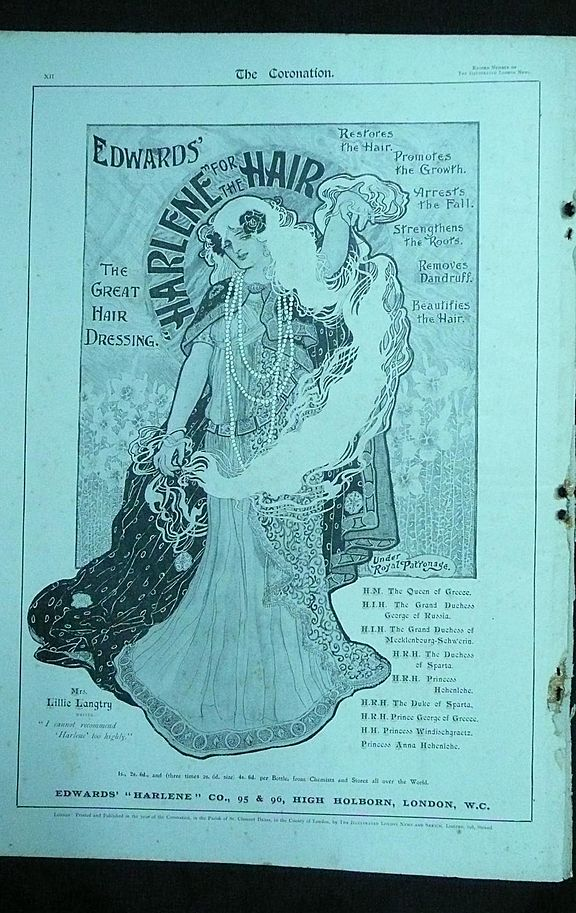 EDWARD'S HARLENE For The Hair - Original Full Page Advert Illustrated London News 1901