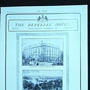 The BERKELEY Hotel - original Full Page from THE SPHERE 1905