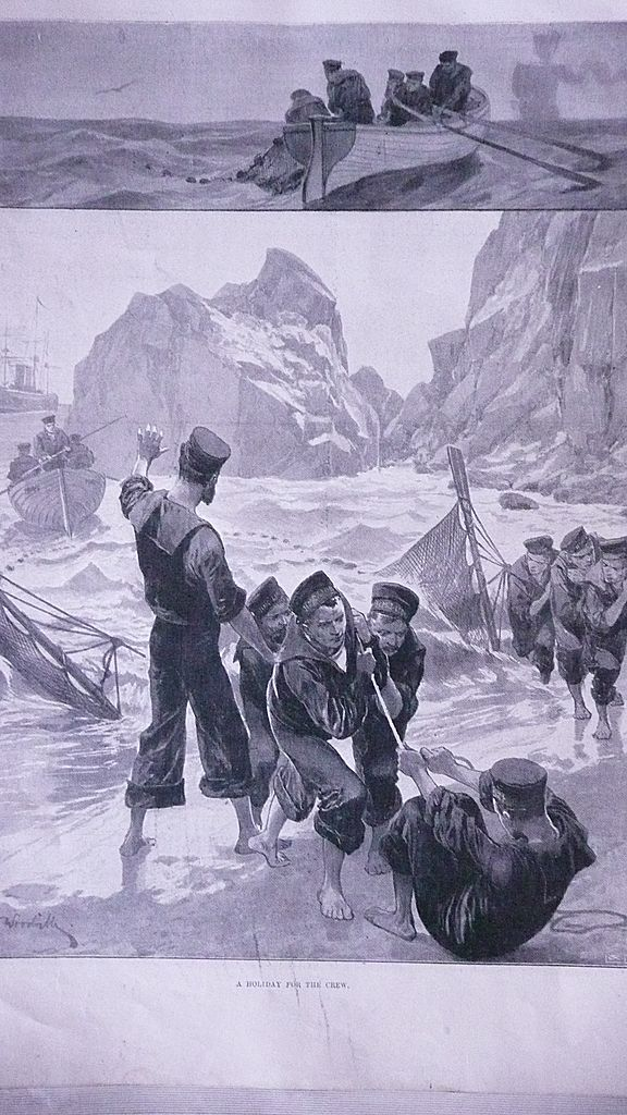 'A Holiday For The Crew'   Full Page from The London Illustrated News Sept. 1895